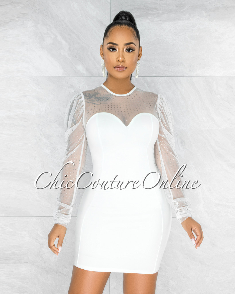 Merton Off-White  Rhinestones Tulle Neck & Sleeves Dress
