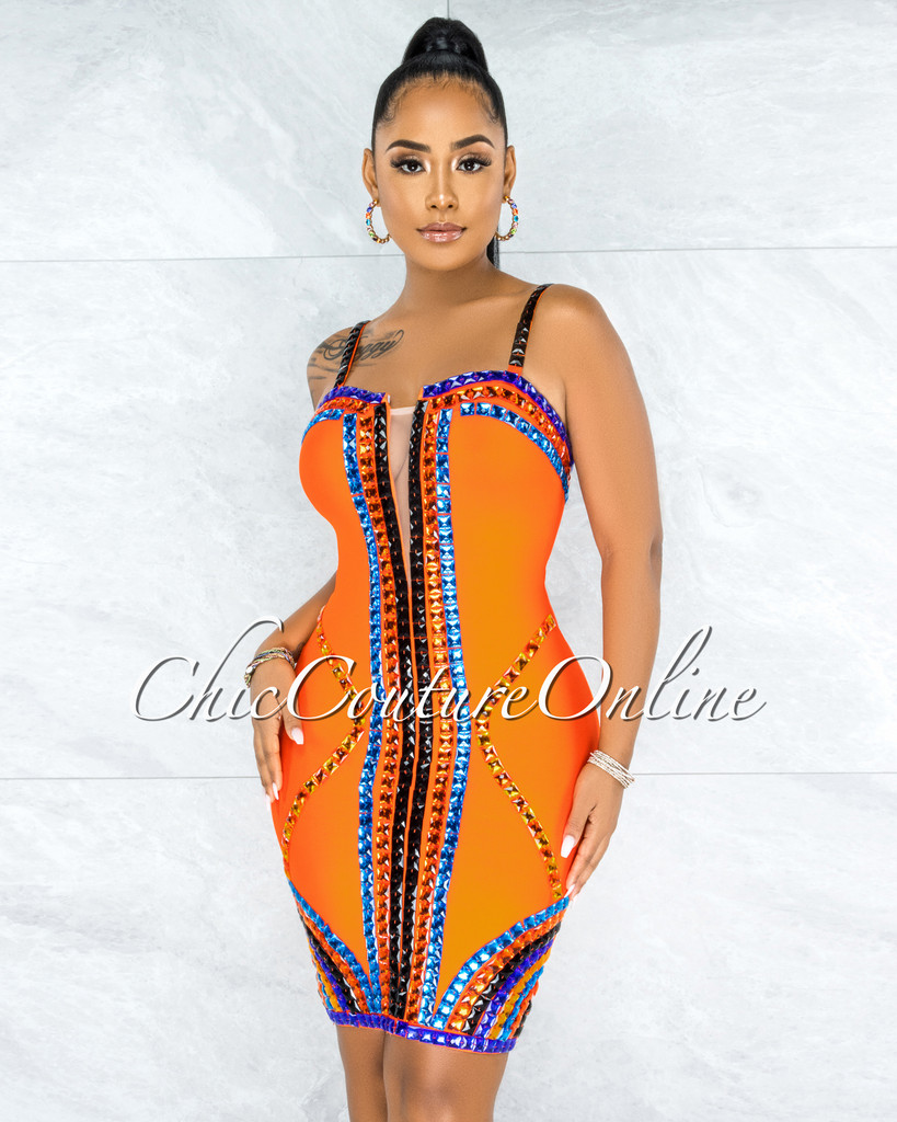 Thalissa Orange Multi-Color Rhinestones Bandage Dress