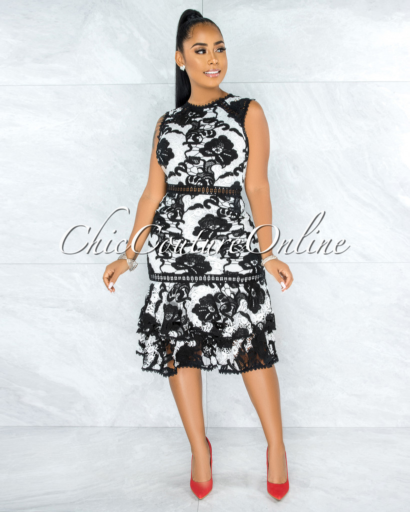 Zetta Black White Crochet Embroidery Ruffle Hem Midi Dress