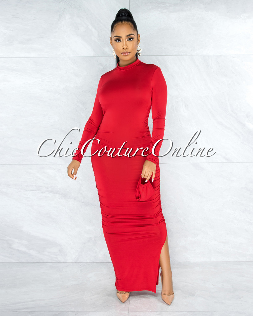 Lutz Red Ruched Hips Side Slit Maxi Dress w Mask