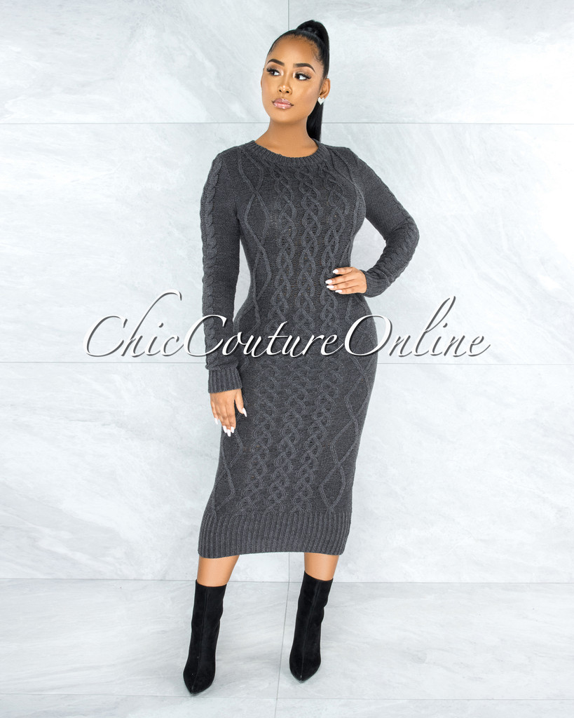 Avner Charcoal Grey Cable Knit Sweater Midi Dress