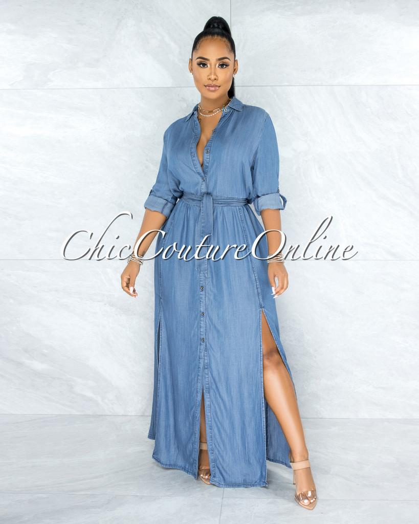 Habiba Blue Chambray Long Sleeves Maxi Shirt Dress