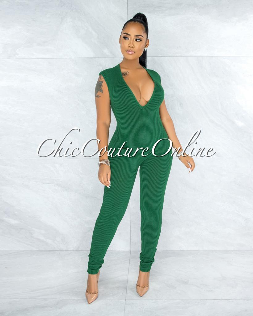 Joyner Emerald Green Deep V-Neck Ribbed Jumpsuit