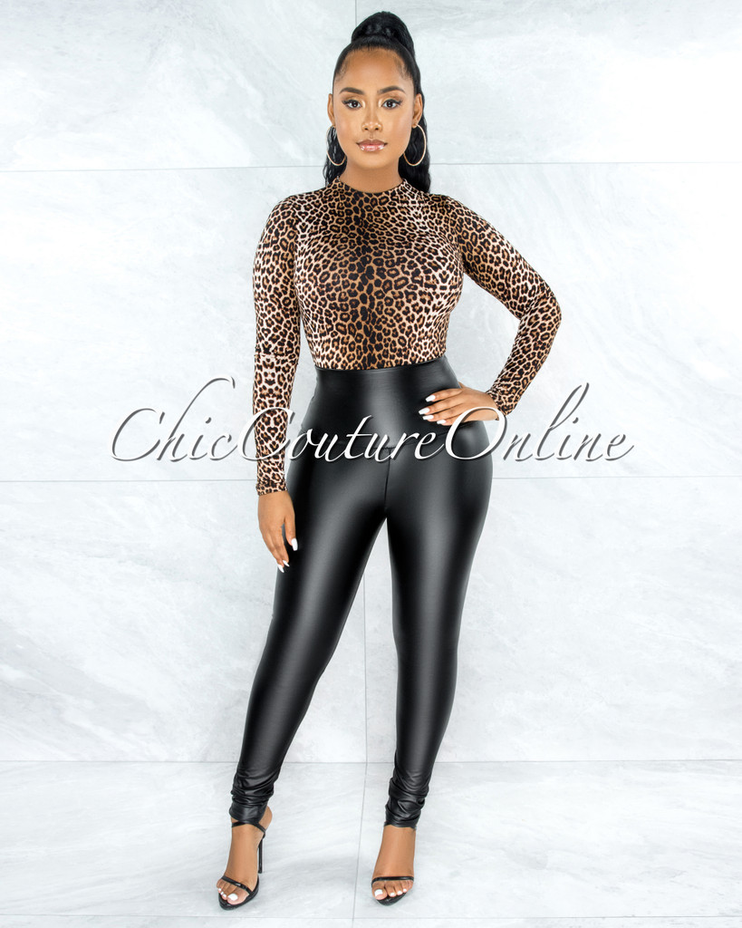 Caya Black Faux Leather High Waist  CURVACEOUS Leggings