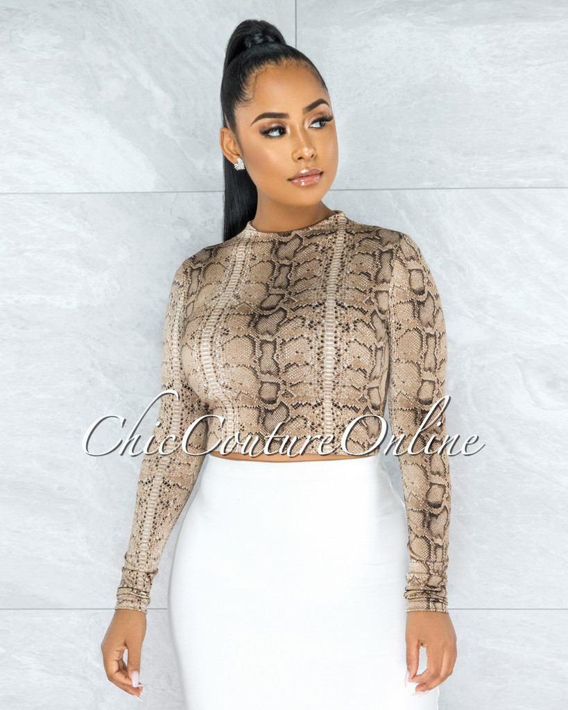 Albertina Snake Print Long Sleeve Crop Top
