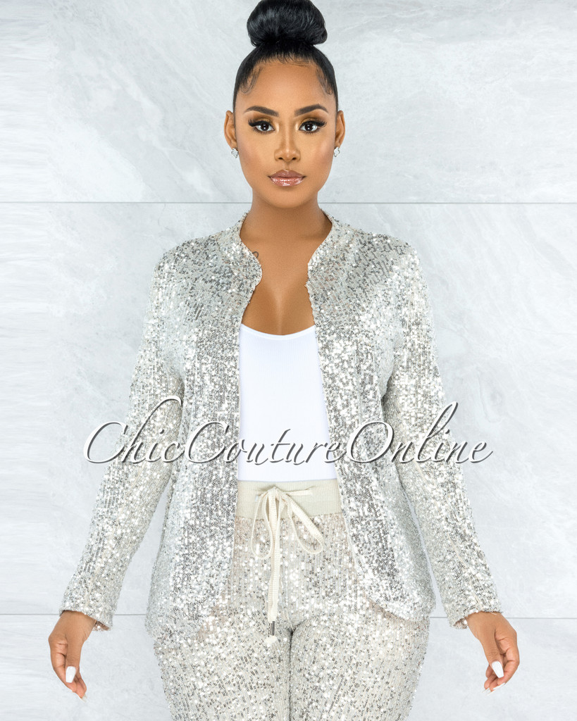 Bachir Silver Sequins Nude Lining Long Sleeves Jacket