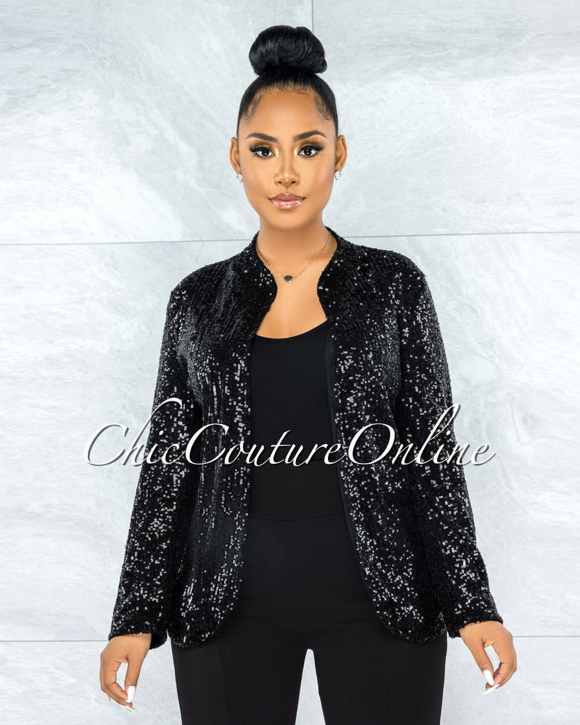 Bachir Black Sequins Long Sleeves Jacket