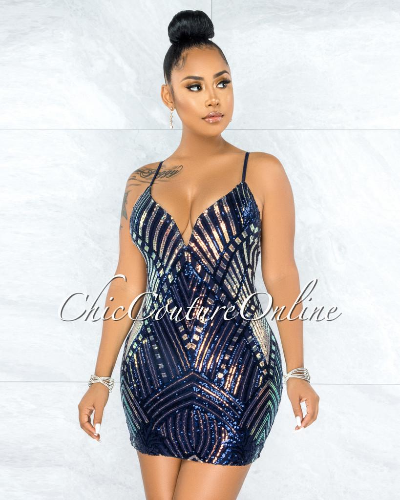 Bernadotte Black Blue Iridescent Sequins Mini Dress