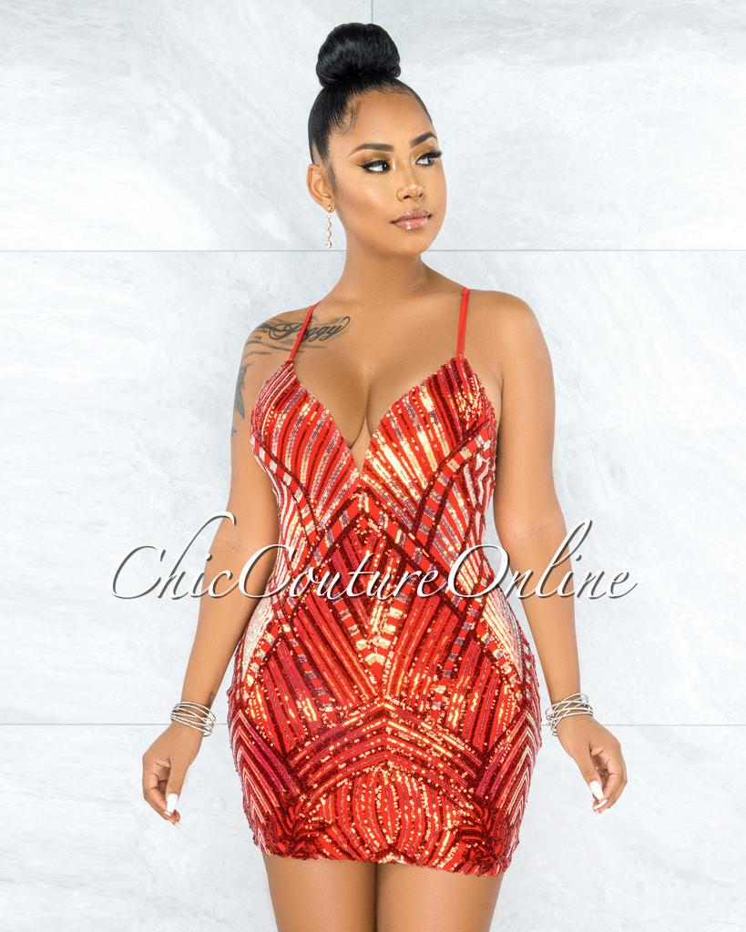 Bernadotte Red Iridescent Sequins Mini Dress