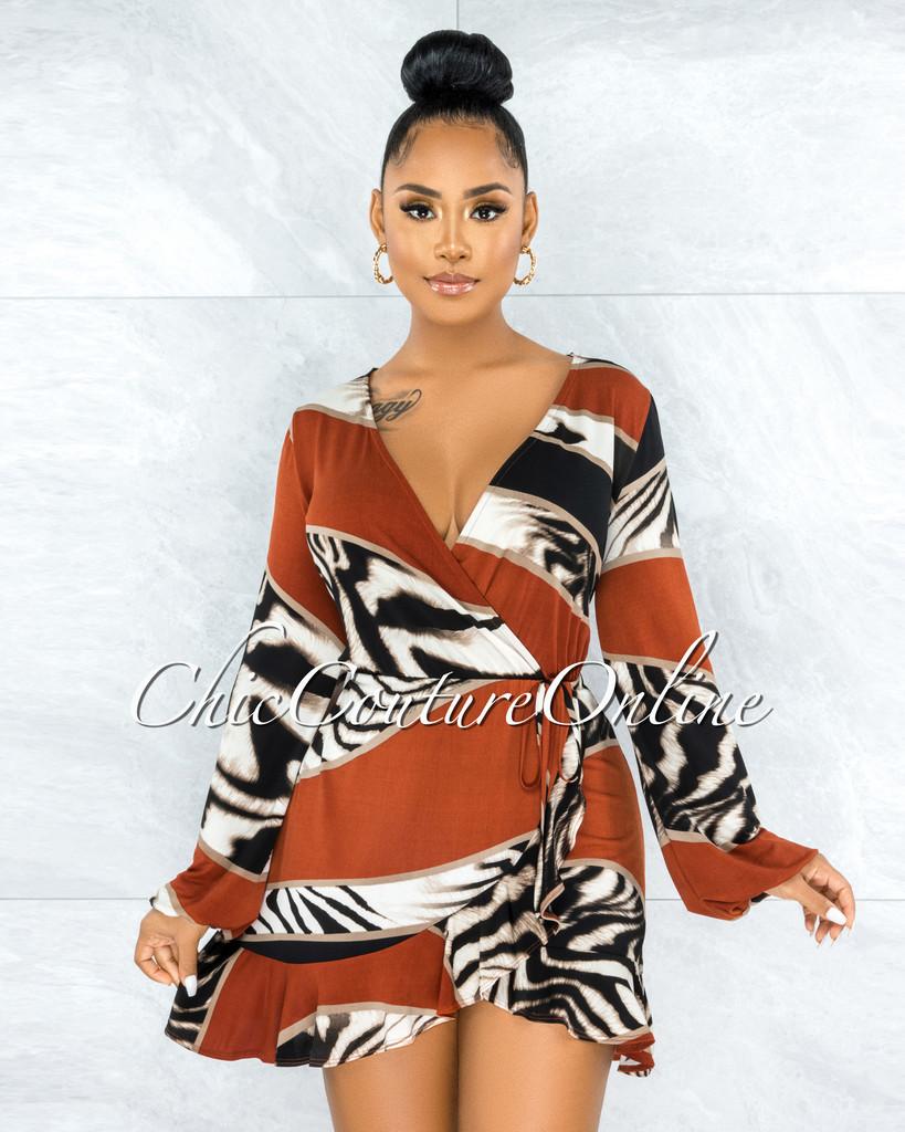 Nicia Rust Multi-Color Print Ruffle Hem Dress