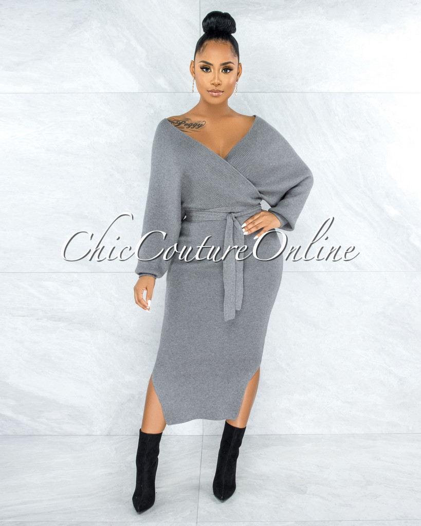 Brucie Grey Wrap Knit Sweater Maxi Dress