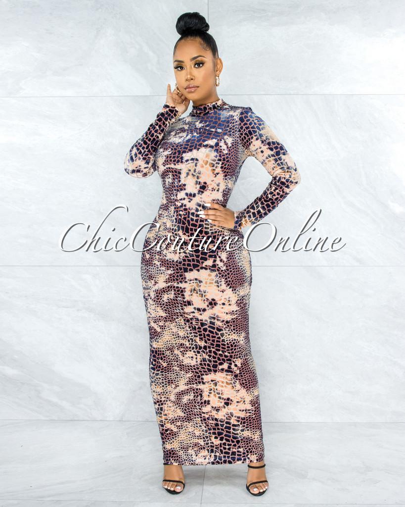 Lanier Nude Blue Croc Print Velvet Maxi Dress