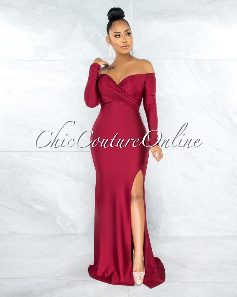 Hayfa Burgundy Side Slit Off-The Shoulders Maxi Dress