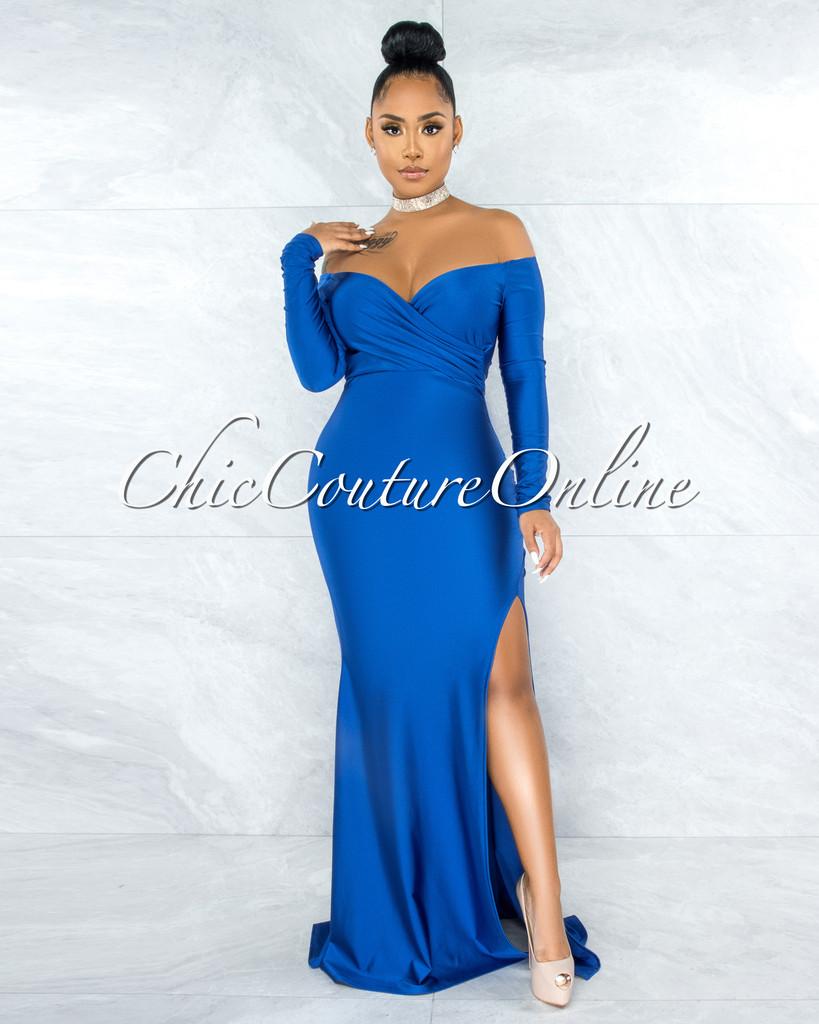 Hayfa Royal Blue Side Slit Off-The Shoulders Maxi Dress