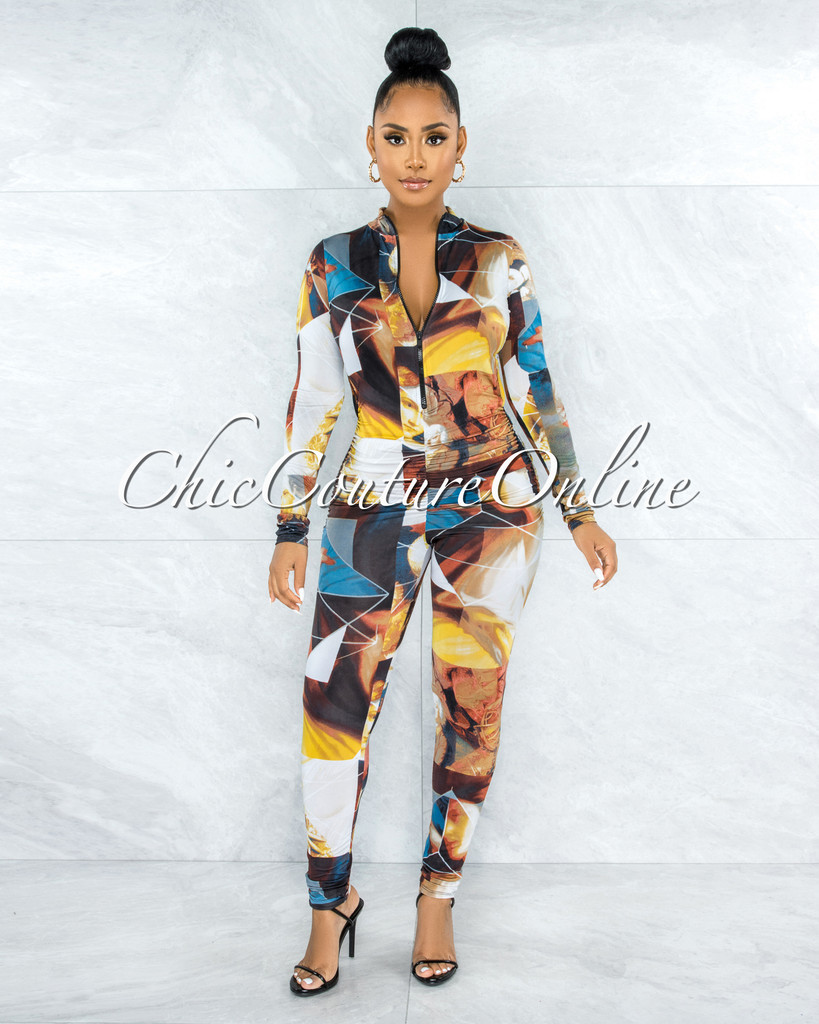 Servan Brown Multi-Color Print Back Key-Hole Ruched Jumpsuit