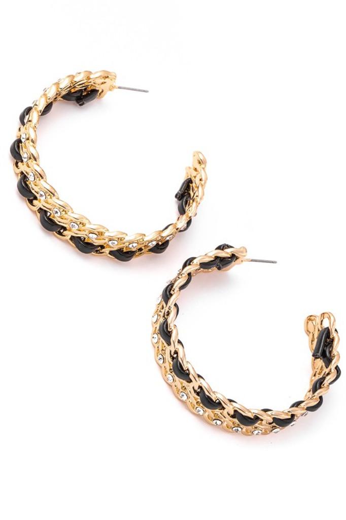 Jamie  Black and Gold Weaved Chain Hoop Earrings