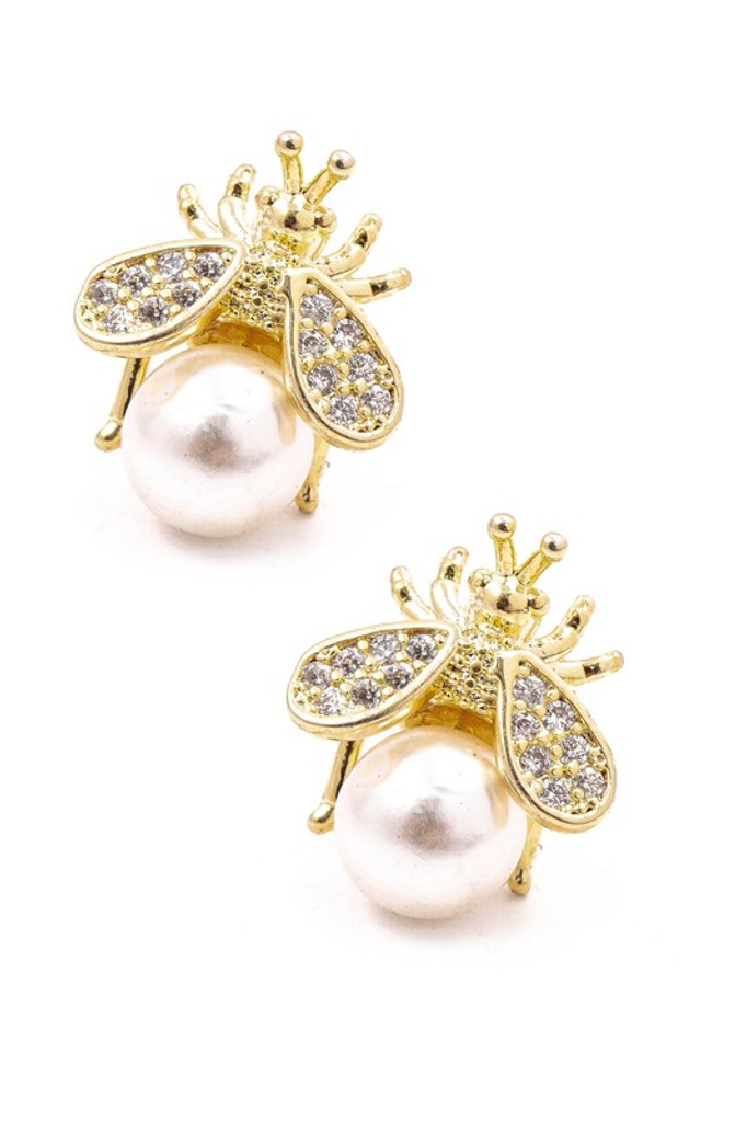 Yamma Gold Studded Pearl Bee Stud Earrings