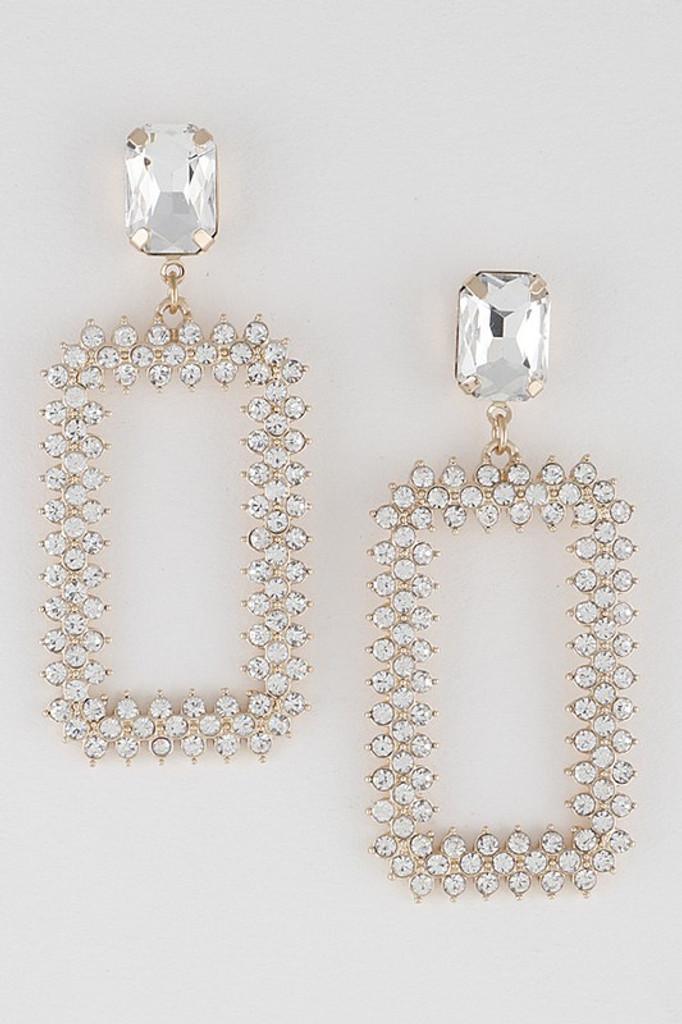 Carra Gold Rhinestone Dangle Earrings
