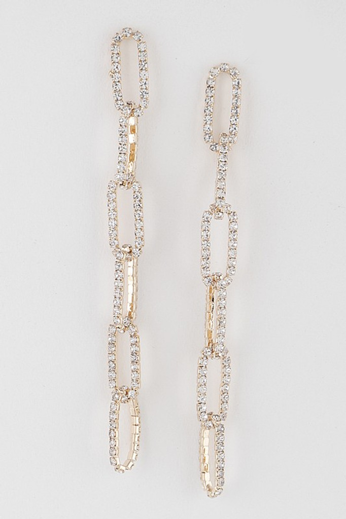 Oumi Gold Rhinestone Chain Drop Earrings