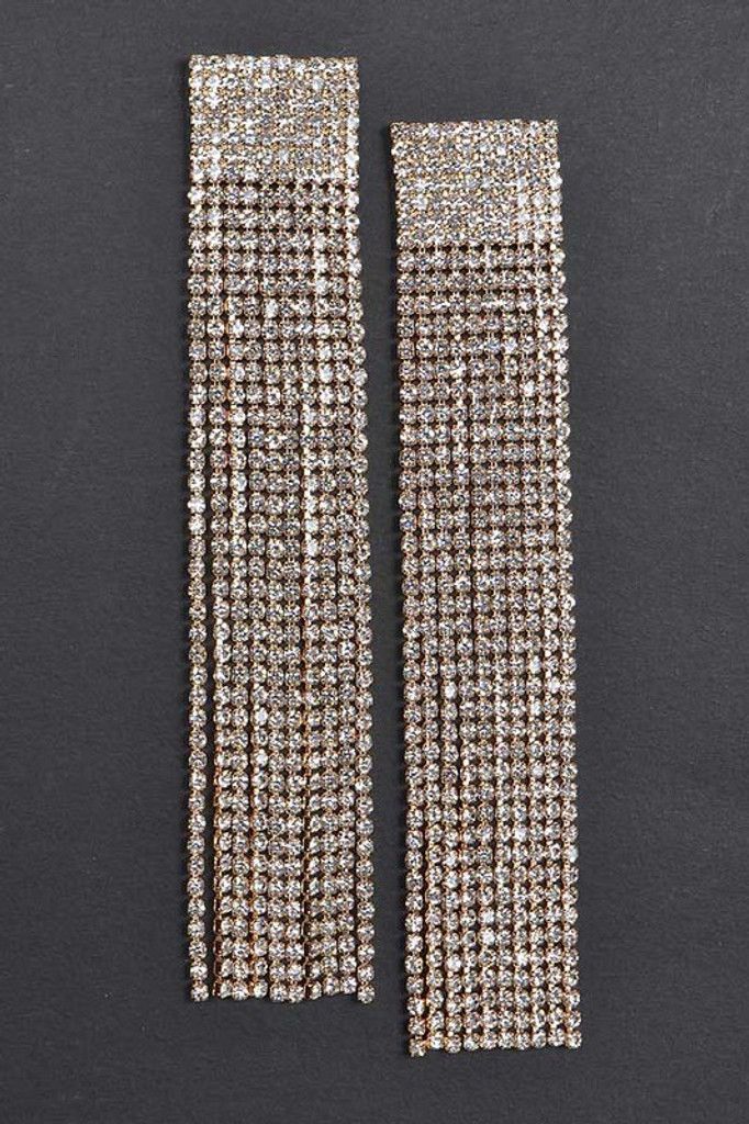 Oyah Gold Rhinestone Curtain Drop Earrings