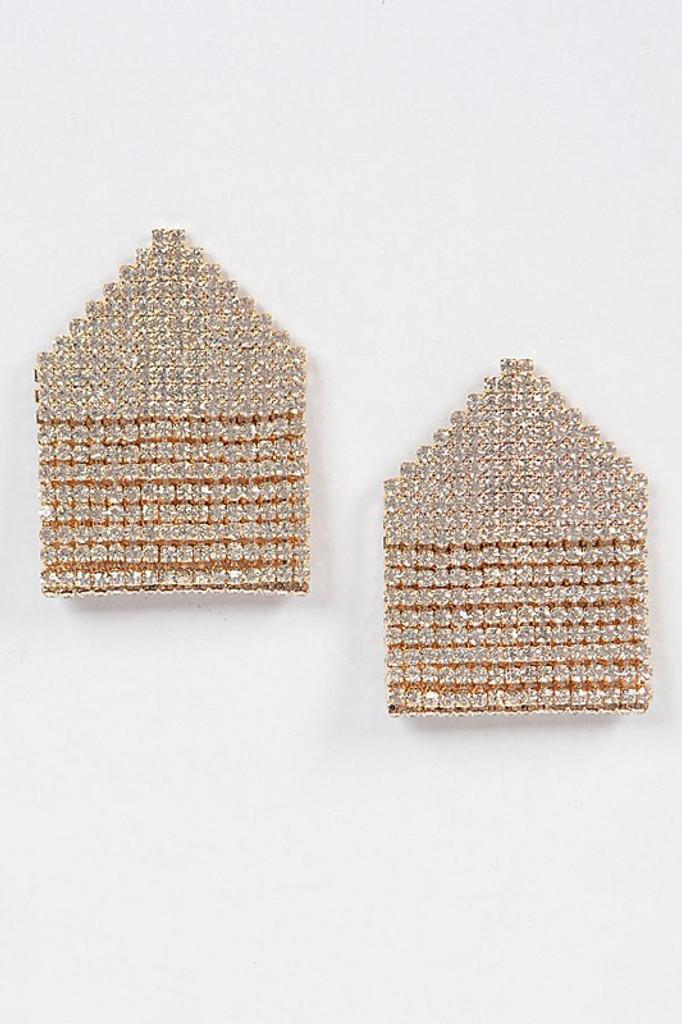 Gemma Gold Rhinestone Stud Earrings