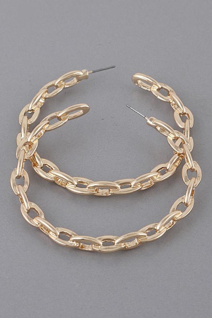 Laura Gold Chain Link Hoop Earrings