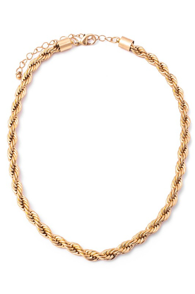 Prue Gold Metallic Braided Chain Necklace