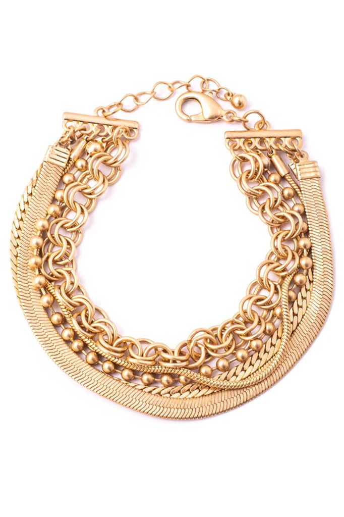 Maura Gold Multiple Chain Link Bracelet