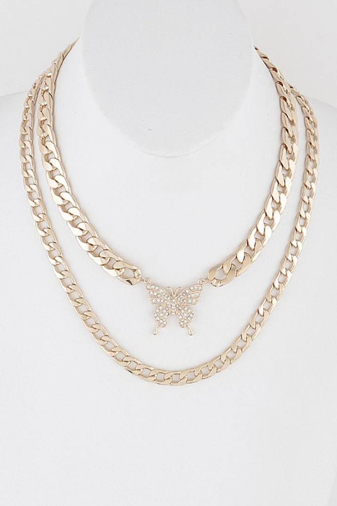 Brie Gold Butterfly Multi Layered Necklace