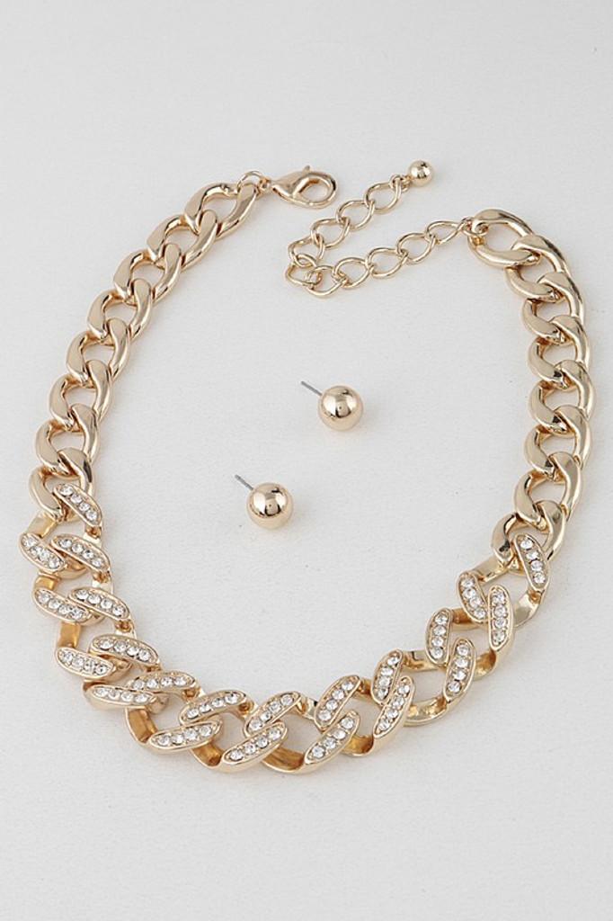 Megan Gold Thick Chain Pavé Necklace