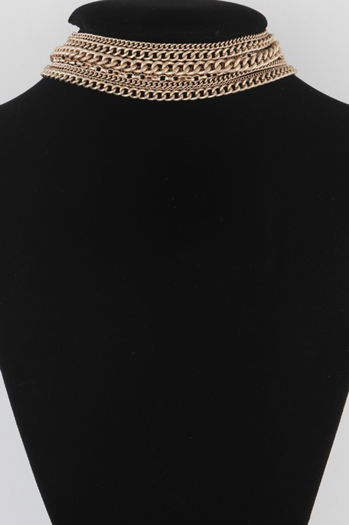 Matty Gold Multi Link Chain Choker Necklace
