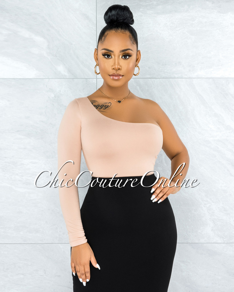 Estime Nude Single Shoulder Long Sleeve Top