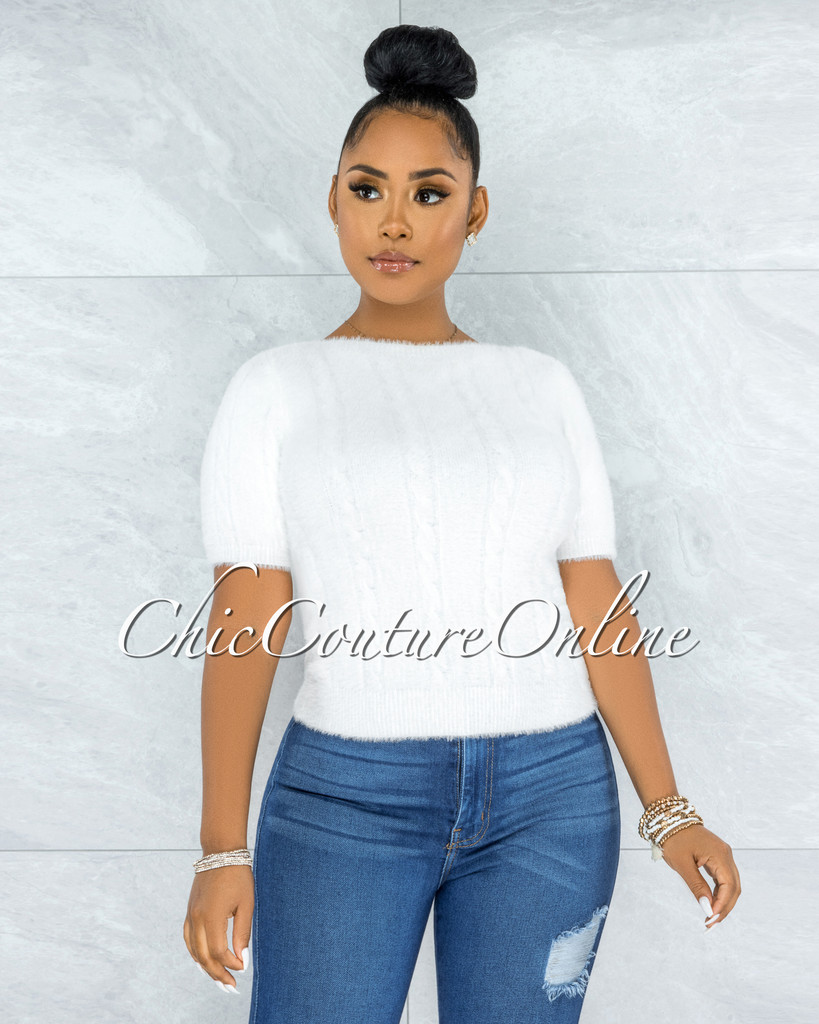 Prospera White Fury Round Neck Top