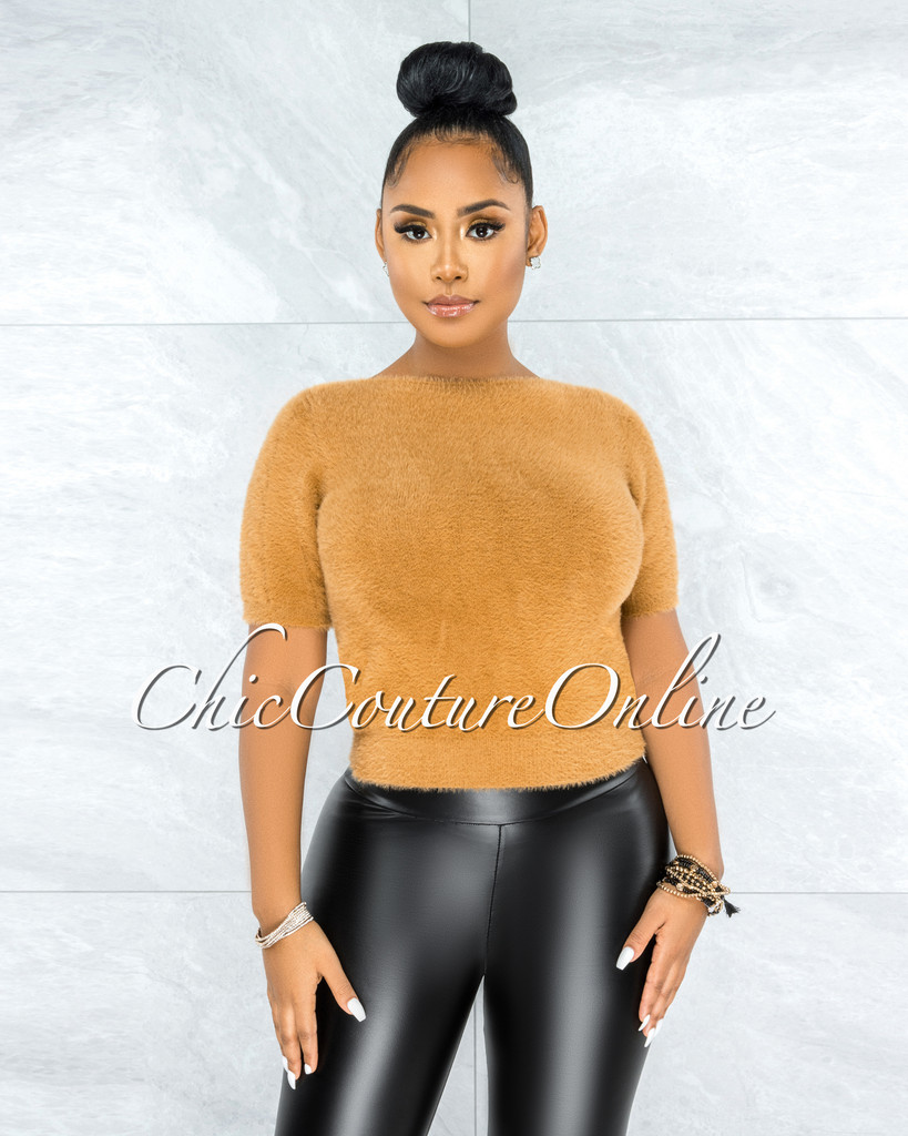 Prospera Camel Fury Round Neck Top