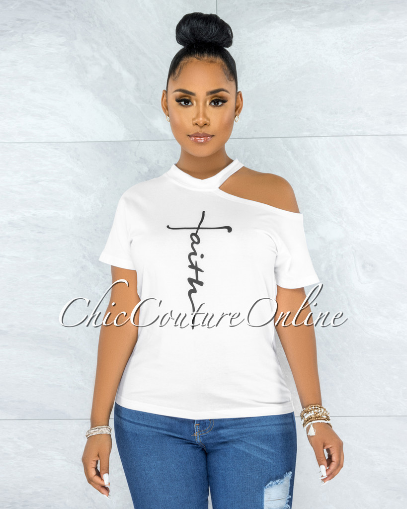 Angus White Black FAITH Graphic Shoulder Cut-Out T-Shirt