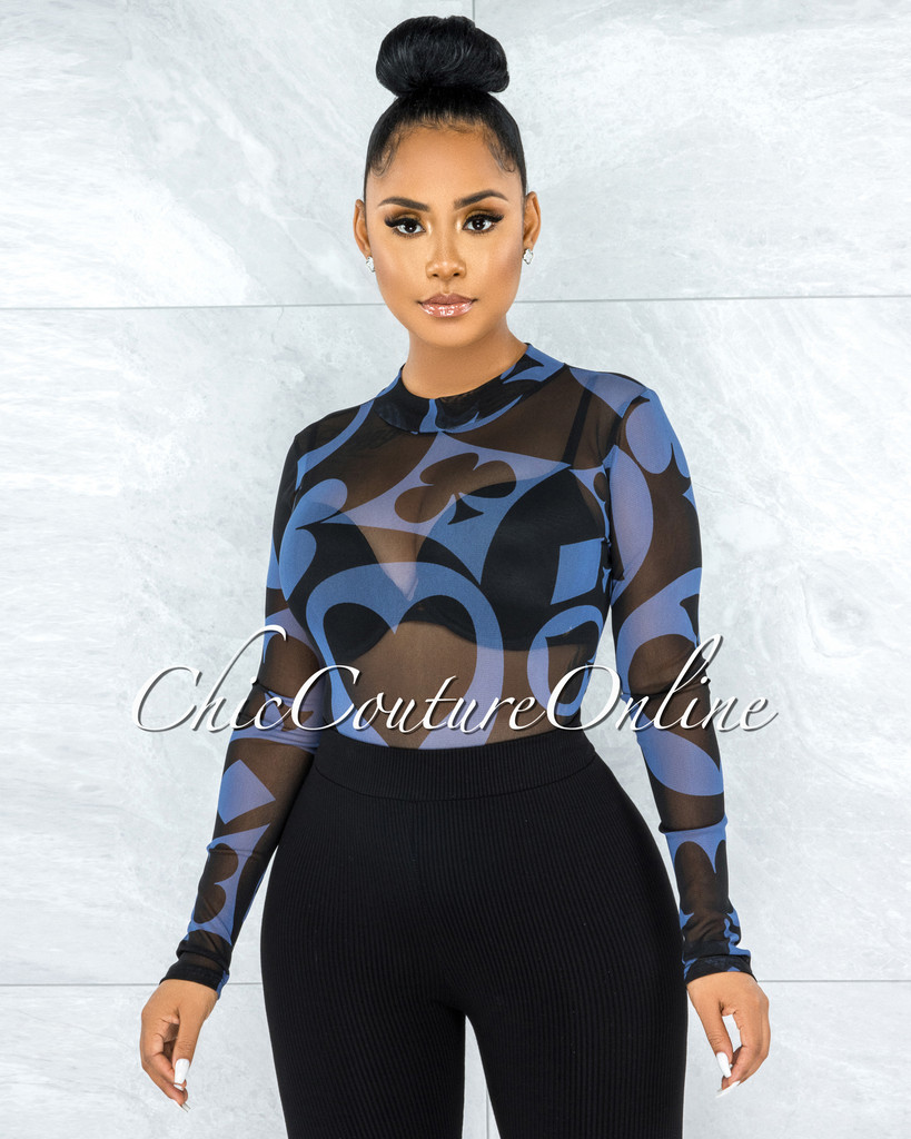 Barajas Blue Black Print Mesh Sheer Bodysuit