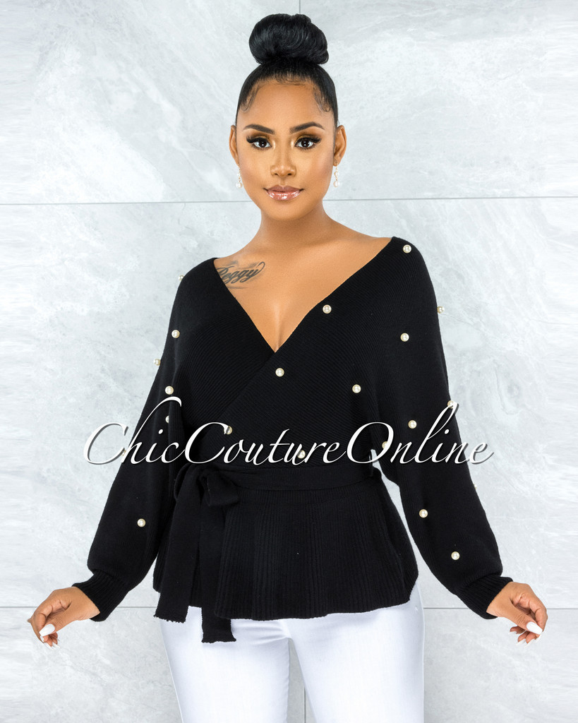 Nyesha Black White Pearl Embellished Knit Peplum Sweater