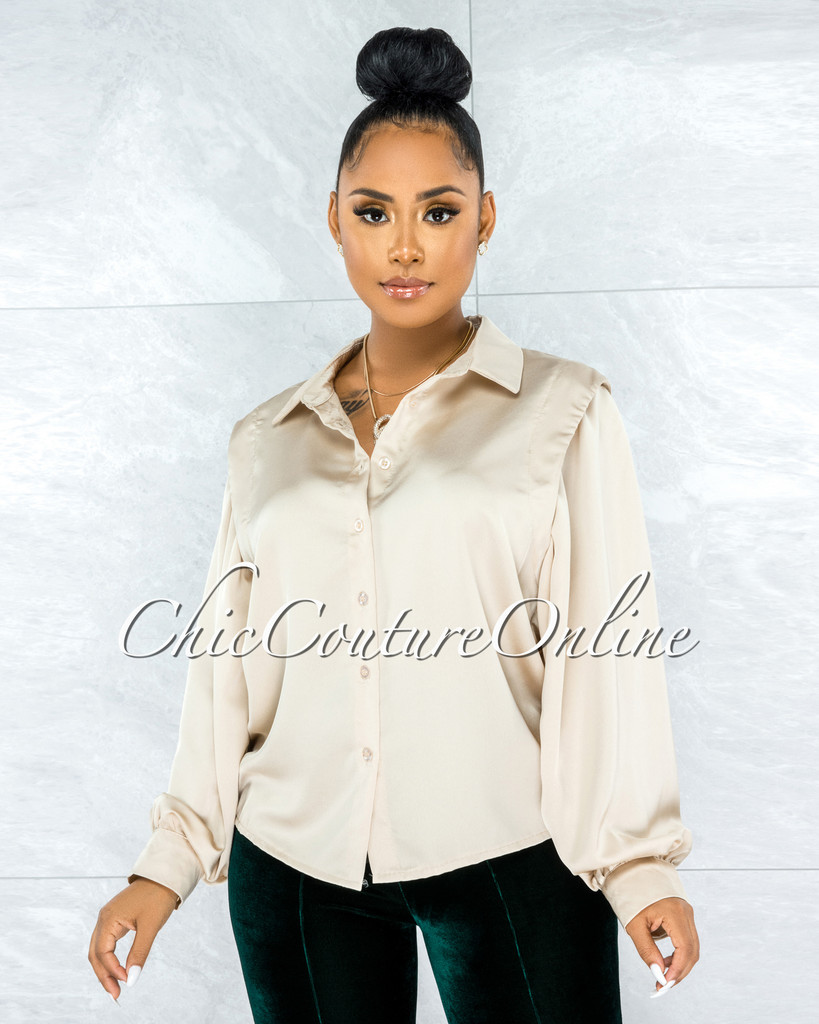 Laken Gold Vest Illusion Satin Buttoned Blouse