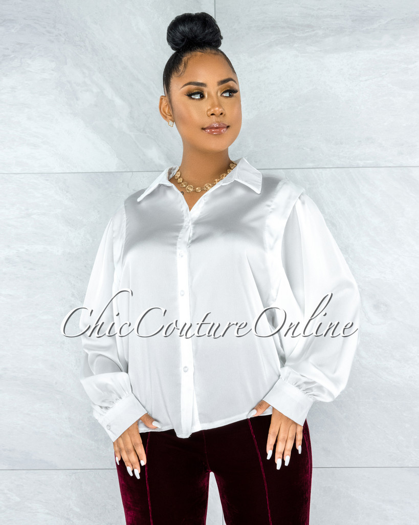 Laken Off-White Vest Illusion Satin Buttoned Blouse