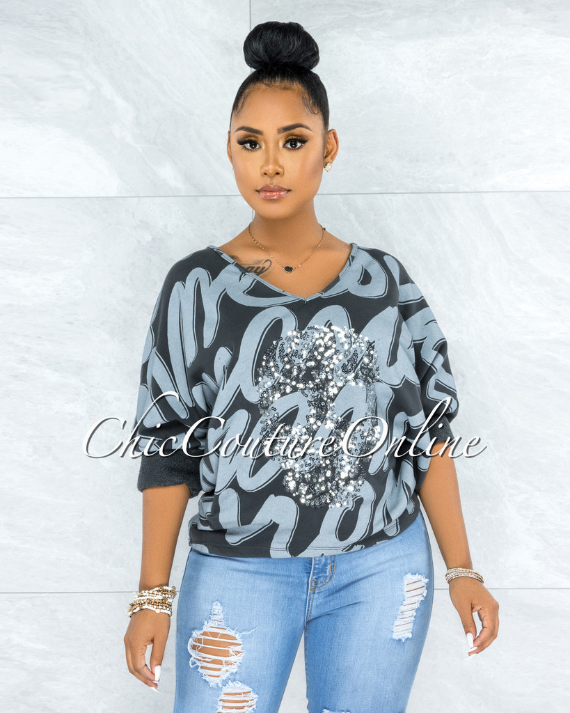 Montego Black Grey Graphic Front Silver Sequins Skull Sweater
