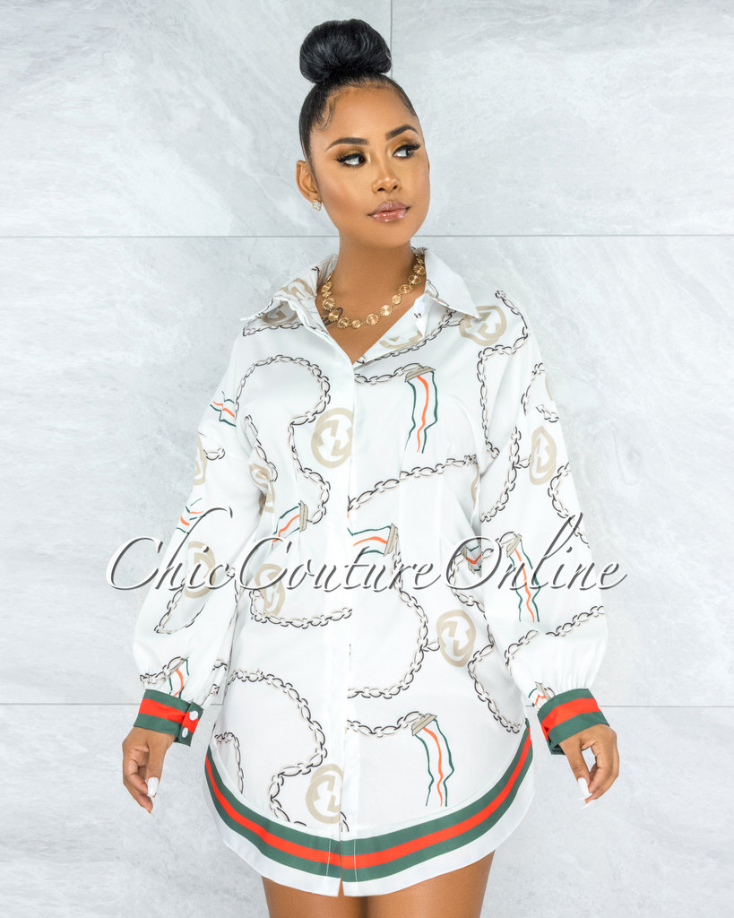 Musoke White Green Red Chain Print Pleated Shirt Dress