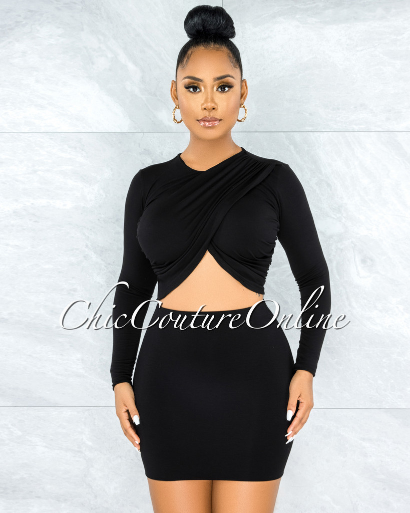 Pulika Black Drap Crossed Top & Double Line Skirt Set