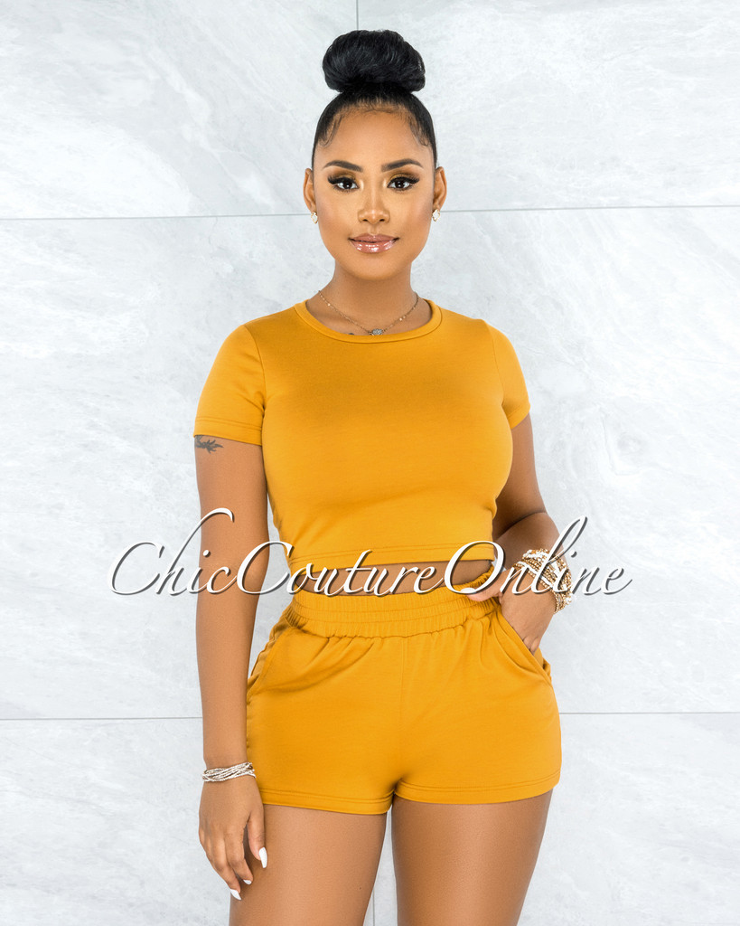 Tabia Mustard Yellow Mini Shorts & Top Set