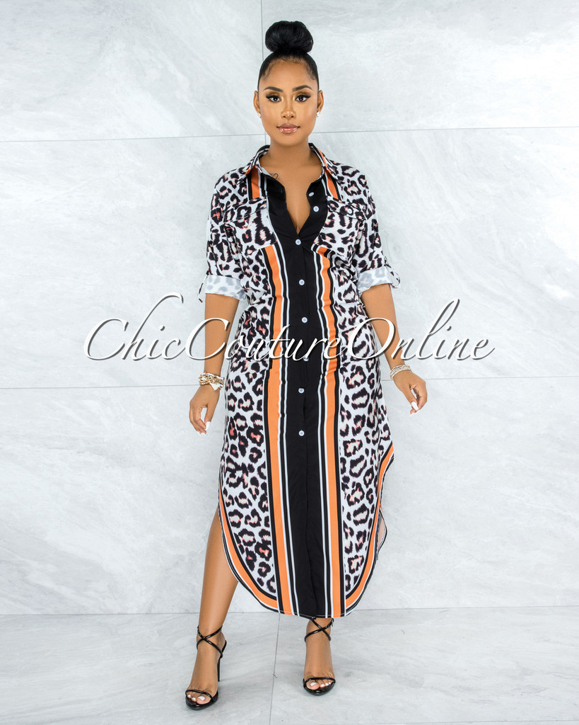 Balmira White Black Orange Leopard Print Buttoned Maxi Shirt Dress