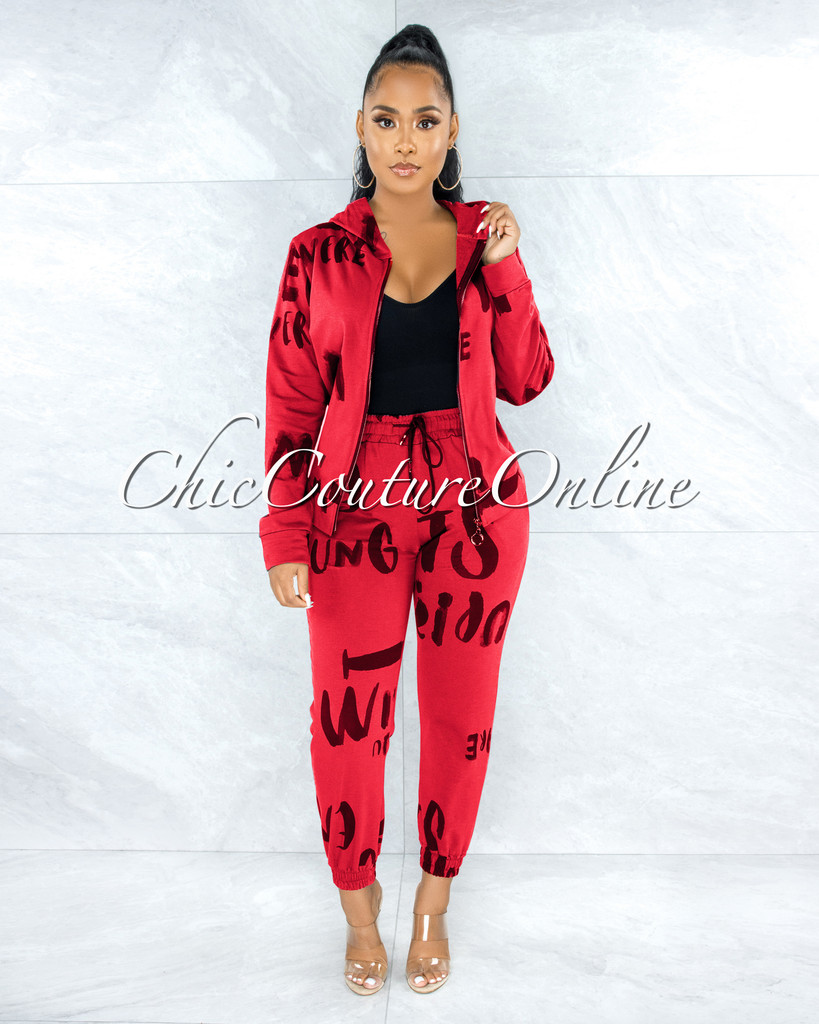 Dagmar Red Black Print Jogger Pants Hoodie Set
