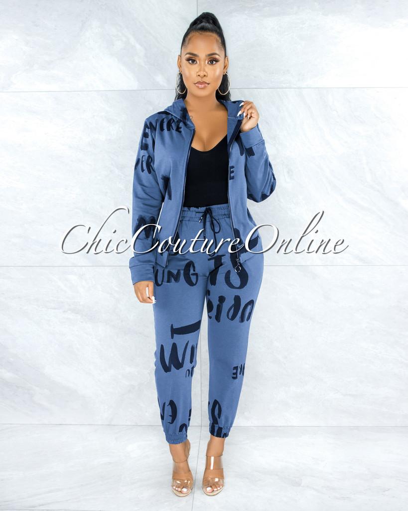 Dagmar Blue Black Print Jogger Pants Hoodie Set