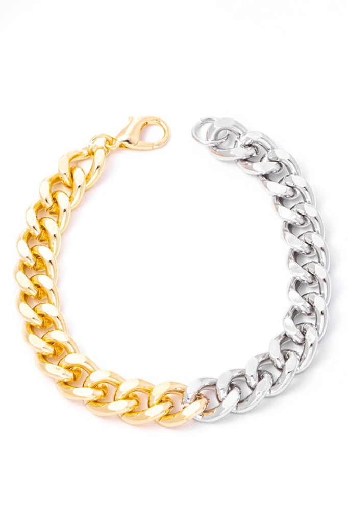 Melanie Gold & Silver Two Tone Simple Curb Chain Bracelet