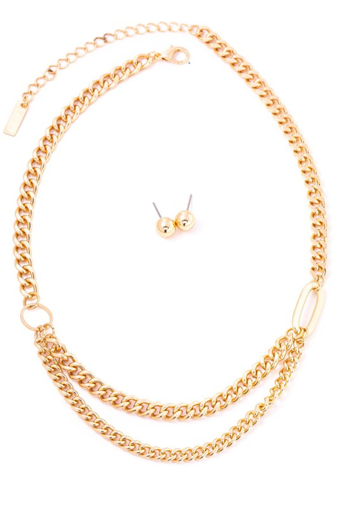 Sarah Gold Curb Chain Necklace Set
