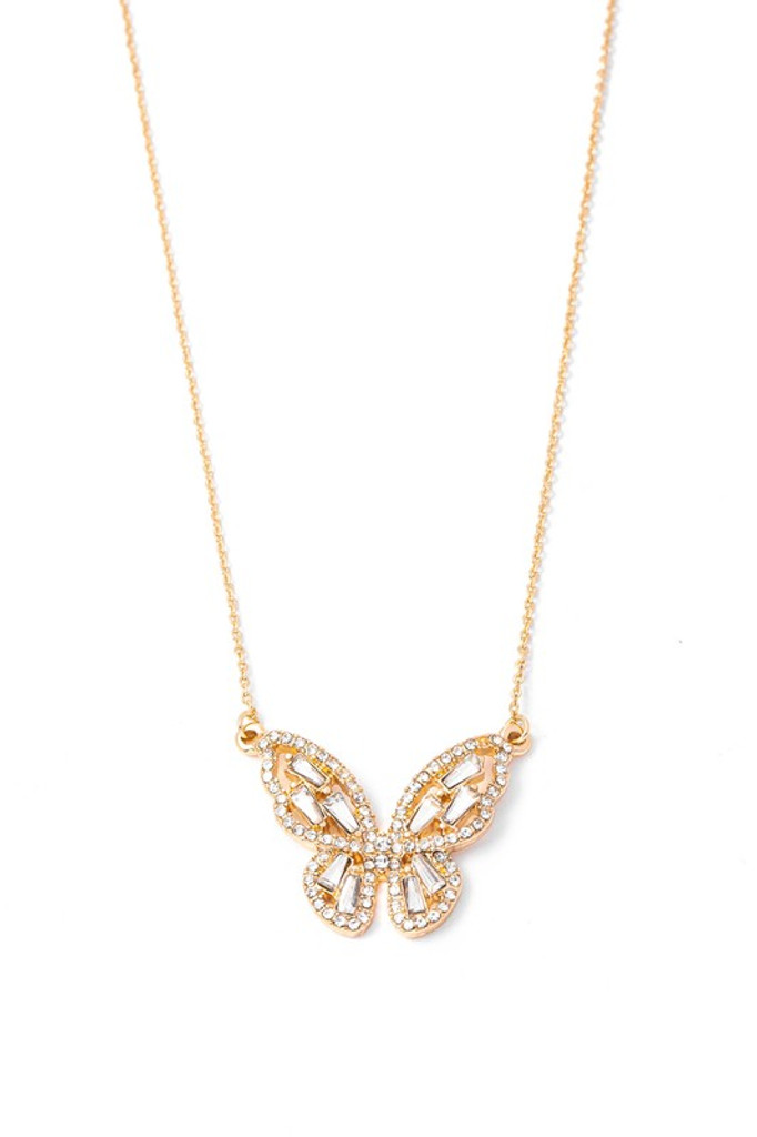 Jessica Gold Studded Butterfly Pendant Necklace