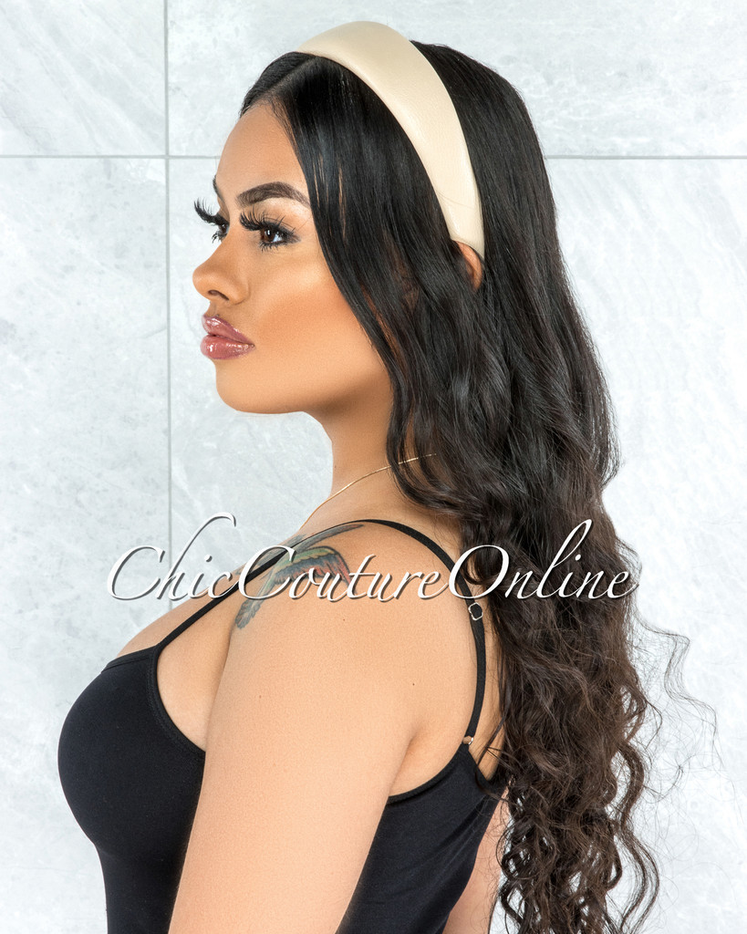 Alexis Ivory Faux Leather Simple Headband